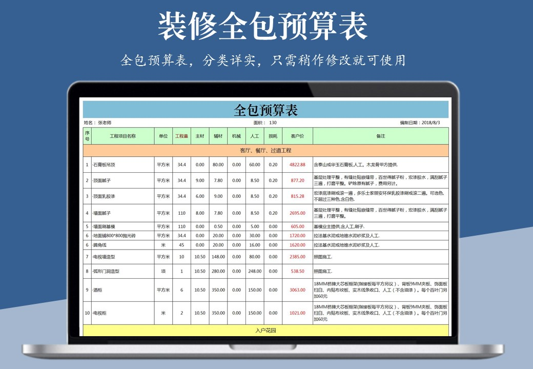 房屋装修全包预算表.xlsx