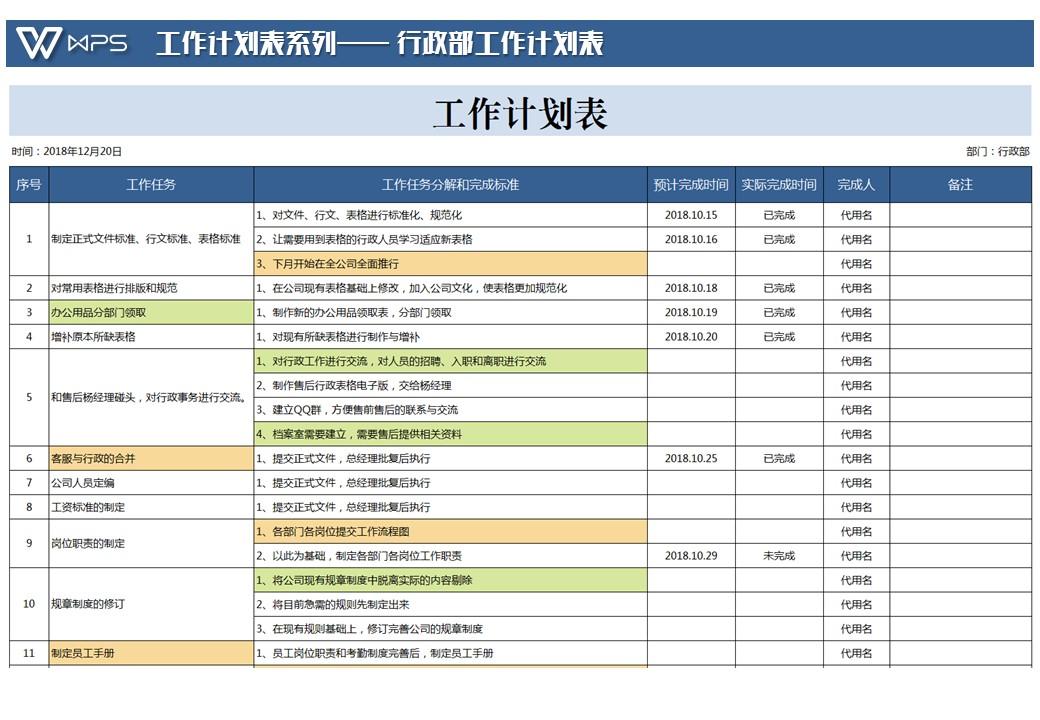 行政部工作计划表.xlsx