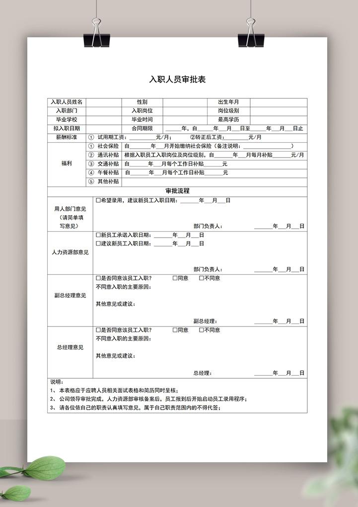 公司入职人员审批表.doc